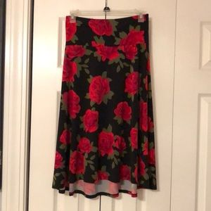 Black with red roses skirt